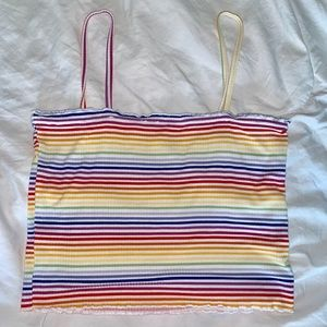 PacSun Tops - rainbow stripped lettuce edge crop top